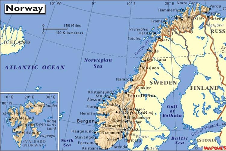 نروژ نقشه - شهرهای نروژ